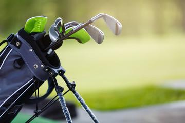 Golf clubs at a golf resort. set of golf clubs