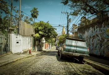 Street in Santa Teresa district of Rio de Janeiro city, Brazil