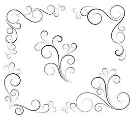 Black and white vectore curl florish vignette
