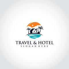 Travel and Hotel Logo Template Design. Vector Illustrator Eps. 10