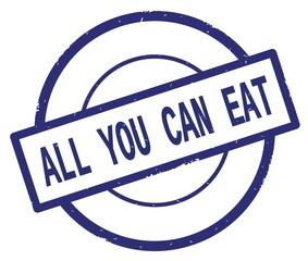 ALL YOU CAN EAT text, written on blue simple circle stamp.