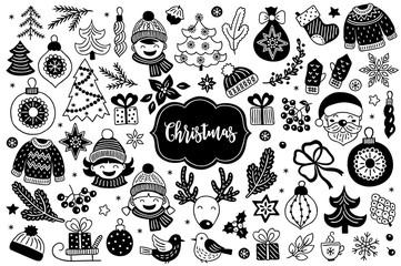 Christmas design elements with fir tree, ball, bauble, boy, girl
