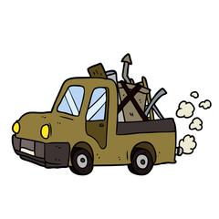 cartoon old truck full of junk