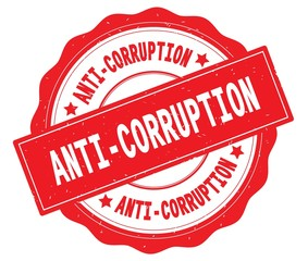ANTI CORRUPTION text, written on red round badge.