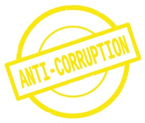 ANTI CORRUPTION text, written on yellow simple circle stamp.