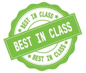 BEST IN CLASS text, written on green round badge.