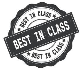 BEST IN CLASS text, written on grey round badge.
