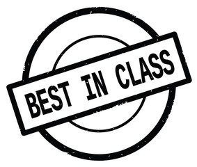 BEST IN CLASS text, written on black simple circle stamp.