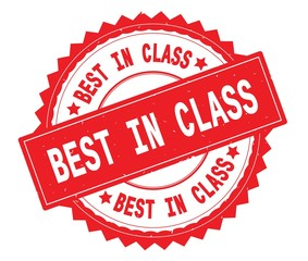 BEST IN CLASS red text round stamp, with zig zag border.