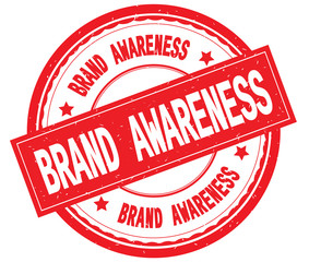 BRAND AWARENESS written text on red round rubber stamp.