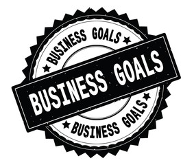 BUSINESS GOALS black text round stamp, with zig zag border.