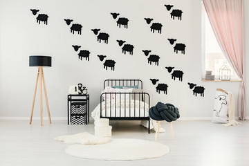 Child's bedroom with sheep stickers