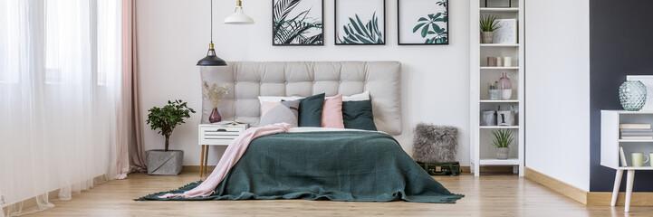 Green cozy bedroom