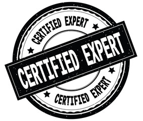 CERTIFIED EXPERT written text on black round rubber stamp.