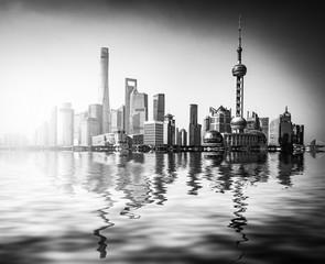 beautiful shanghai lujiazui financial center aside the huangpu river.