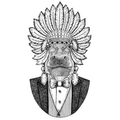 Hippo, Hippopotamus, behemoth, river-horse Wild animal wearing inidan hat, head dress with feathers Hand drawn image for tattoo, t-shirt, emblem, badge, logo, patch