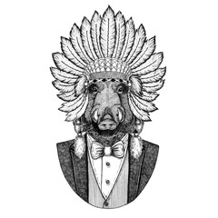 Aper, boar, hog, wild boar Wild animal wearing inidan hat, head dress with feathers Hand drawn image for tattoo, t-shirt, emblem, badge, logo, patch