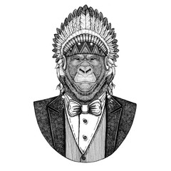 Gorilla, monkey, ape Wild animal wearing inidan hat, head dress with feathers Hand drawn image for tattoo, t-shirt, emblem, badge, logo, patch