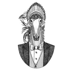 Horse, hoss, knight, steed, courser Wild animal wearing inidan hat, head dress with feathers Hand drawn image for tattoo, t-shirt, emblem, badge, logo, patch