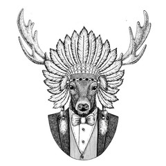 Deer Wild animal wearing inidan hat, head dress with feathers Hand drawn image for tattoo, t-shirt, emblem, badge, logo, patch