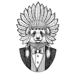Panda bear, bamboo bear Wild animal wearing inidan hat, head dress with feathers Hand drawn image for tattoo, t-shirt, emblem, badge, logo, patch