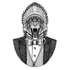 Wild tiger Wild animal wearing inidan hat, head dress with feathers Hand drawn image for tattoo, t-shirt, emblem, badge, logo, patch
