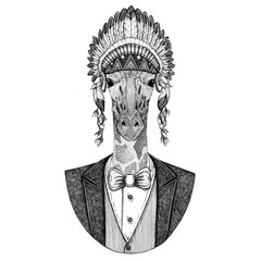 Camelopard, giraffe Wild animal wearing inidan hat, head dress with feathers Hand drawn image for tattoo, t-shirt, emblem, badge, logo, patch