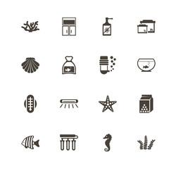 Aquarium icons. Perfect black pictogram on white background. Flat simple vector icon.