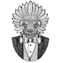 Buffalo, bison,ox, bull Wild animal wearing inidan hat, head dress with feathers Hand drawn image for tattoo, t-shirt, emblem, badge, logo, patch