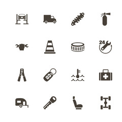 Car Repair icons. Perfect black pictogram on white background. Flat simple vector icon.