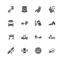 Auto Safety icons. Perfect black pictogram on white background. Flat simple vector icon.