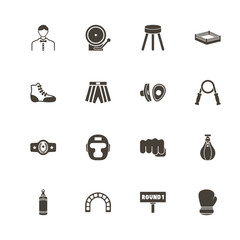 Boxing and Fighting icons. Perfect black pictogram on white background. Flat simple vector icon.
