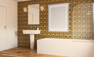 Clean and fresh bathroom with natural light. 3D rendering. Empty paintings.
