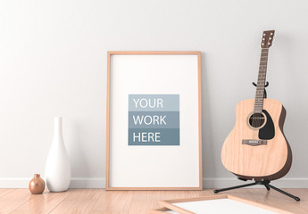 Framed Poster Mockup with Acoustic Guitar