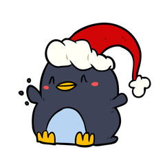 cartoon penguin wearing christmas hat