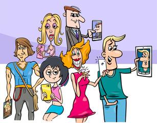 cartoon group of people doing selfie photos