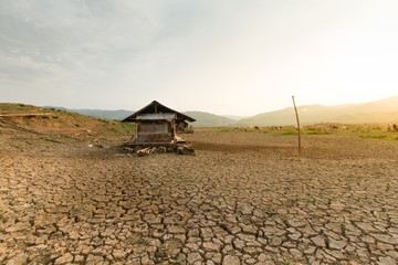 Climate change impact no water in the lake at Thailand, Southeast Asia