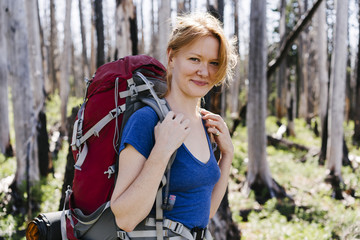 Portrait of female hiker standing at Mt Hood National Forest