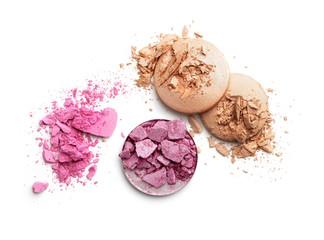 Make-up crushed eyeshadow isolated on white background