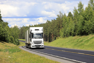 Summer Road Landscape with White Cargo Truck