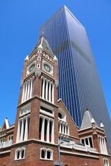 Skyscraper and red brick building church in Perth City, Western Australia