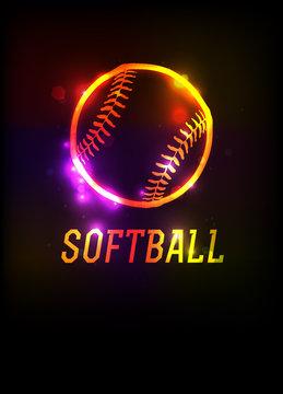 Glowing Softball Icon Background Illustration