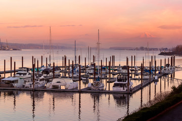 Marina along Columbia River at Sunset