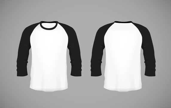 Men's slim-fitting long sleeve baseball shirt. Black Mock-up design template for branding.