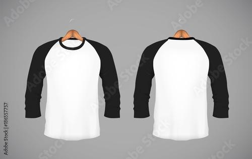 Men S Slim Ing Long Sleeve Baseball Shirt With Wood Hanger Black Mock Up