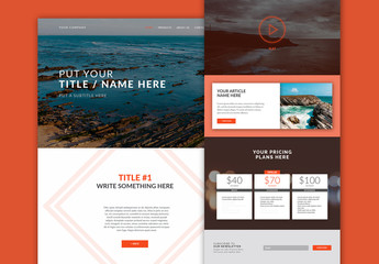 Website Layout with Orange Accents for Desktop and Mobile
