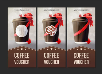 Coffee to Go Vouchers. Coffee Ripple Cup with a Red Ribbon. Vector EPS10