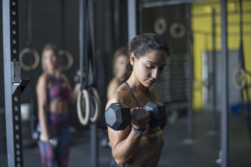 Women training biceps in gym with ambient light