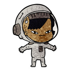 cartoon astronaut woman