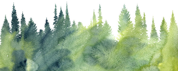 Spoed Fotobehang Aquarel Natuur watercolor landscape with trees